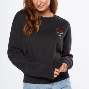 CottonOn | 2PAC Rose Embroidered Black Sweatshirt
